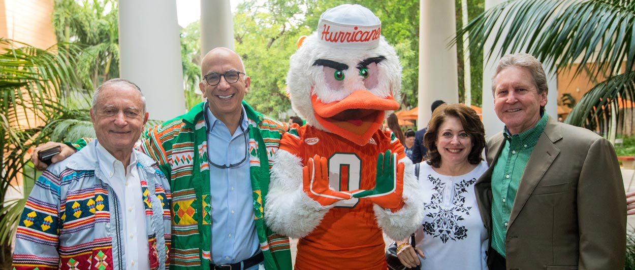 Miami Law alumni with Sebastian the Ibis