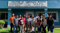 Group of students standing in front of CIW building.