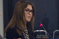Charlotte Cassel, 3L, makes opening remarks during a thematic hearing before the IACHR.