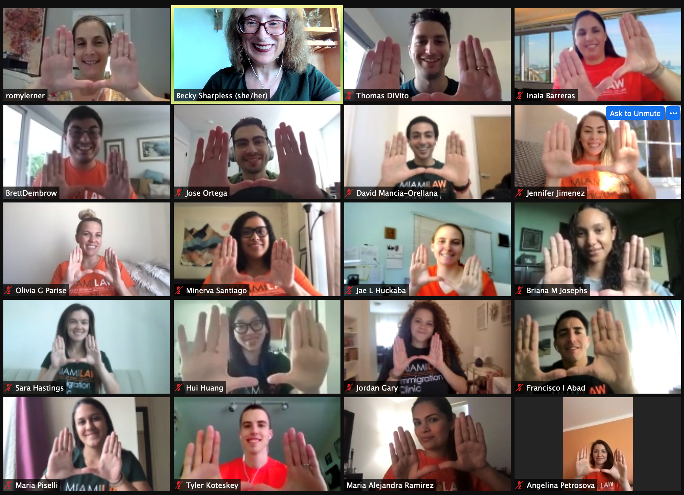 Students and professors on a video conference call