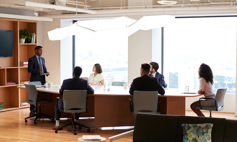Meeting in a boardroom
