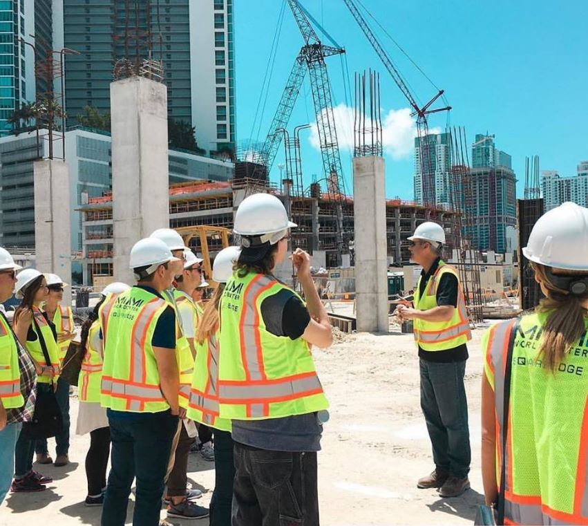 students at construction site