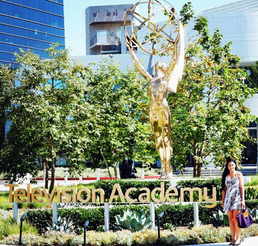 camila pedraza in front of the television academy