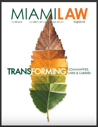 Miami Law Magazine cover winter 2018