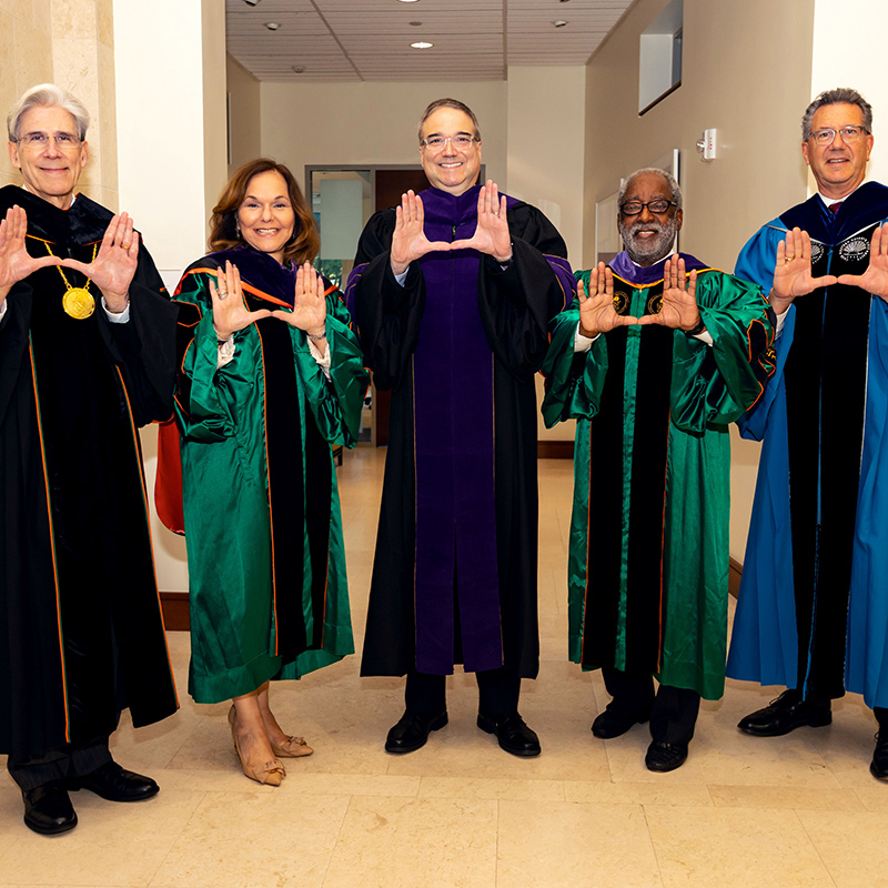 President Julio Frenk; Chair of the Board of Trustees, Hilarie Bass, J.D. '81; Dean Anthony E. Varona; Board of Trustees member H.T. Smith, J.D. '73; Executive Vice President for Academic Affairs & Provost, Jeffrey Duerk