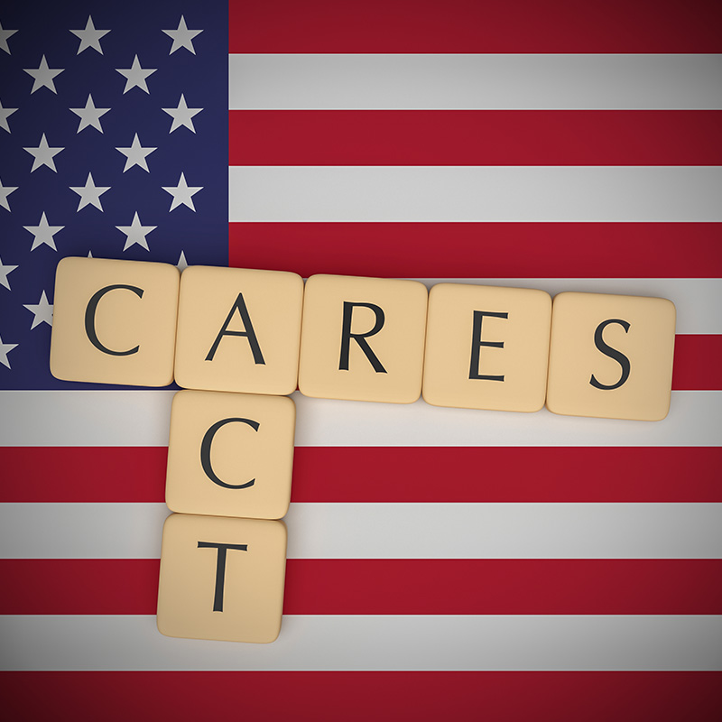 United States flag with CARES ACT