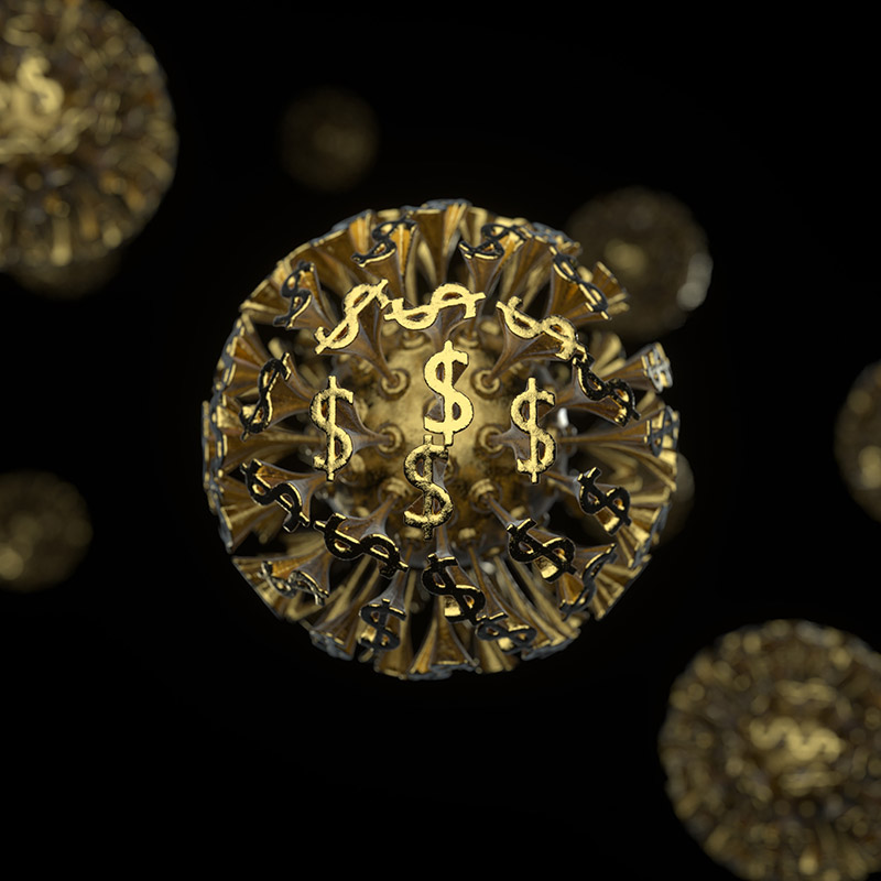 Graphic of dollar signs as virus cells