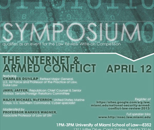 """The National Security and Armed Conflict Law Review's panel discussion on """"The Internet and Armed Conflict"""" will take place April 12 in Room 352 at the law school. (Illustration: Miami Law)"""