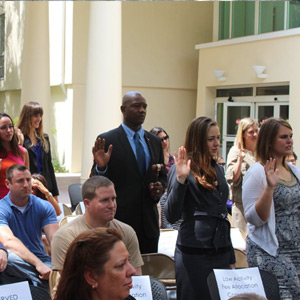 Students leaders being sworn in at Passing of the Gavel. (Photo: Nick Madigan/Miami Law)