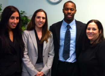 Left to right: Paige Rivkind, Christina Flateau, Jerome Jackson and Lizel Gonzalez,Esq., LSGMI Director of Operations and Human Resources (Photo: Miami Law)