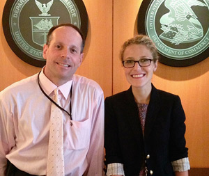 Steven Berk, JD '96 and Liz Calabro, 3L at the U.S. Patent and Trademark Office. (Photo: Miami Law)