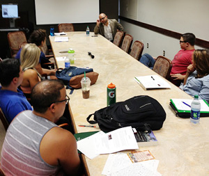 Trevor Aaronson speaking to the Courts Beat class at Miami Law. (Photo: Jill Barton/Miami Law)