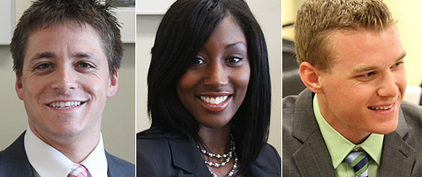 Kevin Yombor, 3L; Shekida Smith, 2L; Andrew Orcutt, 2L. (Photos by Catharine Skipp and Nick Madigan/Miami Law).