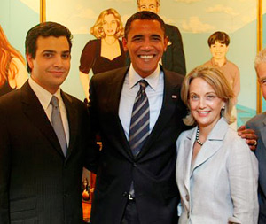 Alejandro Miyar, President Barack Obama, and Alejandro's parents, Marijean and Rafael Miyar in their home after the President spoke at UM's Bank United Center in 2008. (Photo: Miami Law)