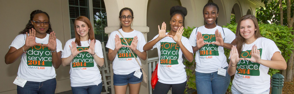 "Miami Law students – ""It's all about the U1"" - volunteering at Fisher House."