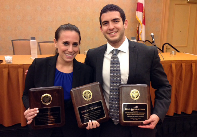 Leah Aaronson and Daniel Ferrante at the Robert Orseck Moot Court Competition