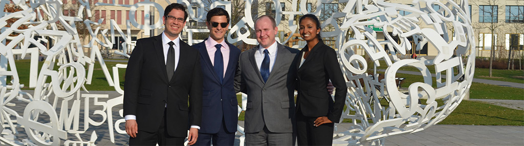 Joseph Matthews (3L), Coach Andrew Riccio, Benjamin Keime (2L) & Abirami Ananthasingam (3L)