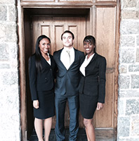 ICC - Victoria Samuels, Shawn Abuhoff & Jhanile Smith at the International Criminal Court Moot Regional Round.