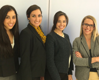 Paige Rivkind, Barbara Cabrera, Jennifer Felipe, and FAWL member and attorney Elisa J. D'Amico