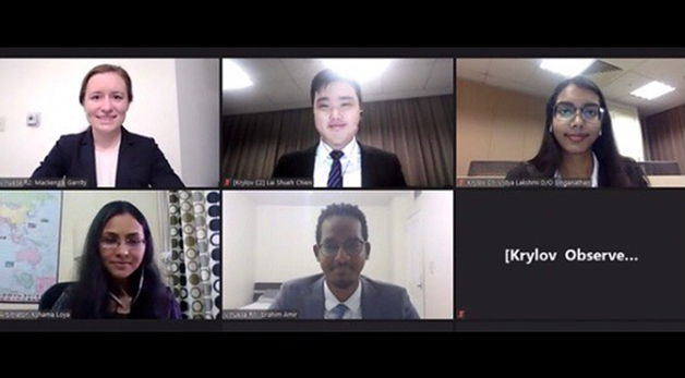 Students competing in the FDI Moot via Zoom