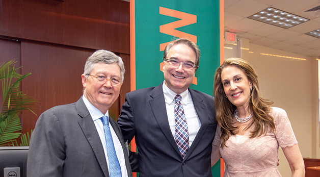 Keith Wold, LL.M. '17, Claudio Grossman, Jennifer Heller Wold, Professor Bernard Oxman, and Dean Anthony Varona