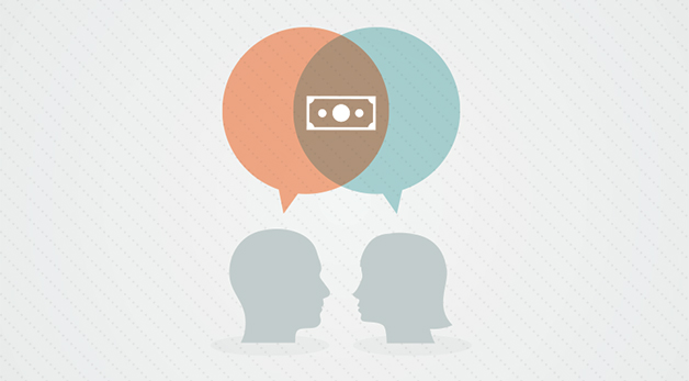 graphic depicting two people talking