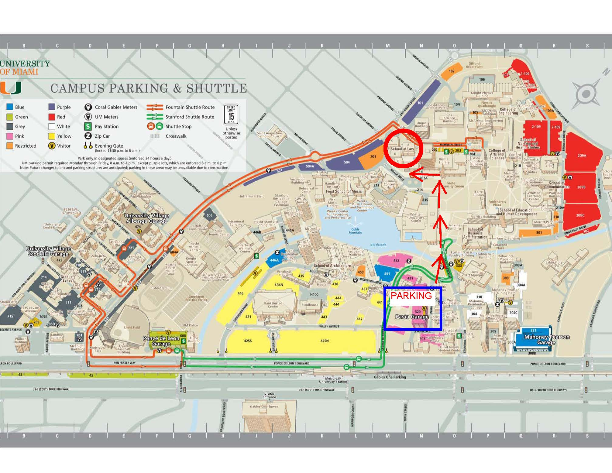 Miami University Map Directions/Parking/Maps for Miami Law | University of Miami School  Miami University Map
